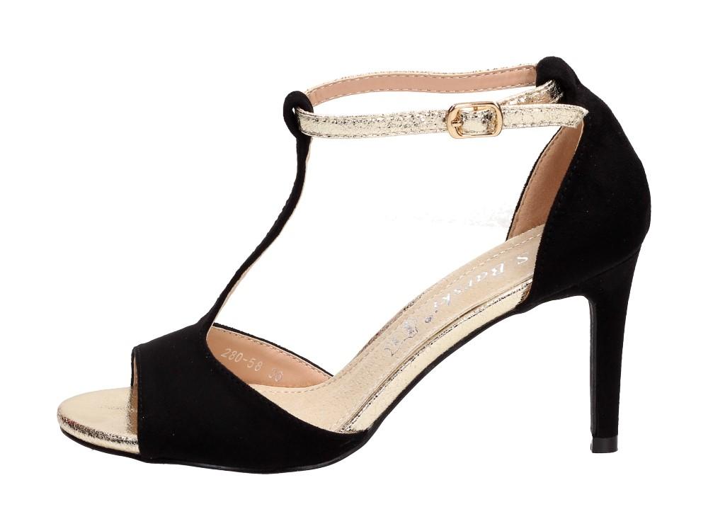 Czarne sandały damskie S.BARSKI 280-58 SZPILKA