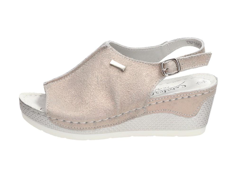 Złote skórzane sandały damskie FILIPPO DS758