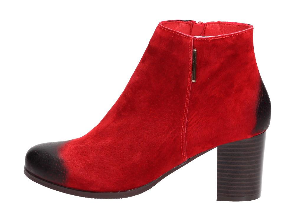 Czerwone botki damskie NOES SA125-22 SKÓRA