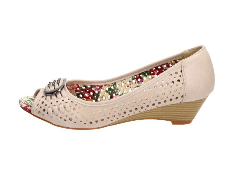 Beżowe sandały damskie GOODIN 2113 KOTURN