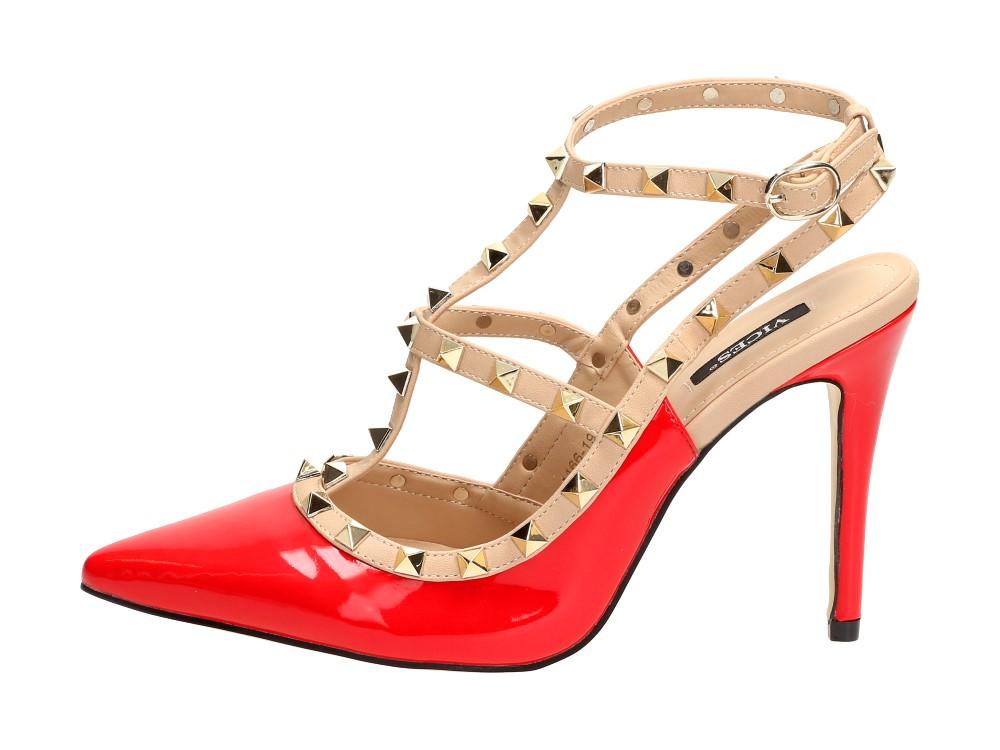 Czerwone sandały damskie szpilki VICES 1166-19