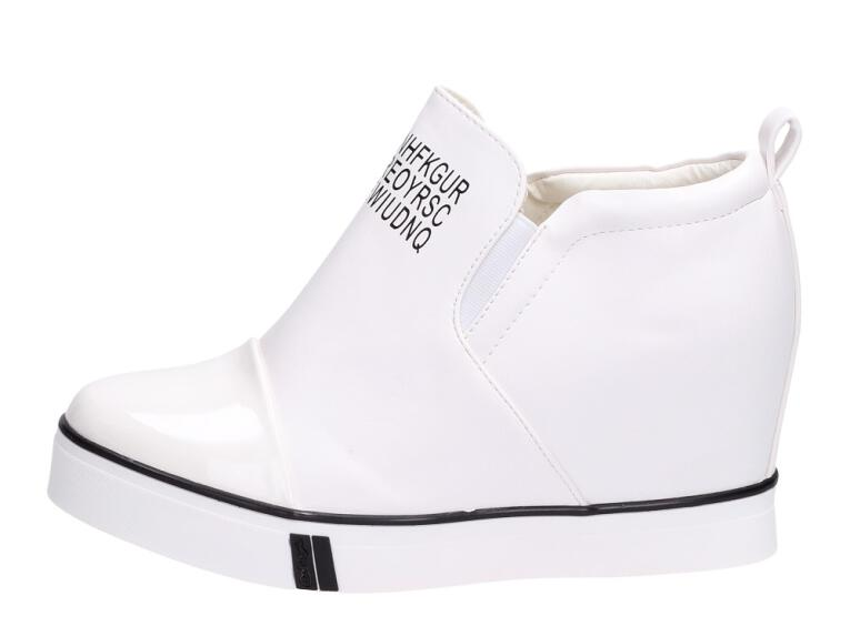 Chłodny Białe botki na koturnie sneakersy 252 JY41