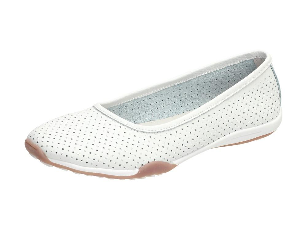 Białe baleriny damskie FILIPPO DP089 SKÓRA