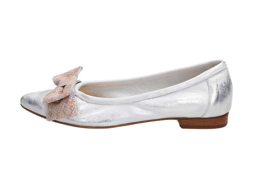 Srebrne POLSKIE baleriny damskie NICOLE 2336