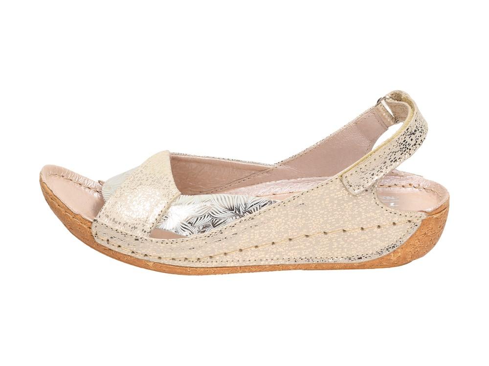 Złote POLSKIE sandały damskie TYCHE 521 GL/GL