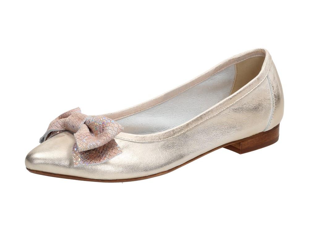 Złote POLSKIE baleriny damskie NICOLE 2336