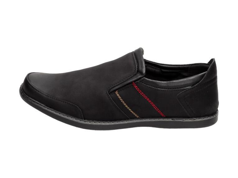 Czarne buty męskie, mokasyny NOWACKI DM17 1A