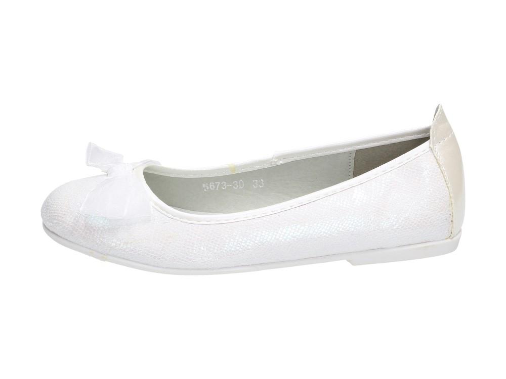 Białe balerinki dziecięce S.BARSKI 5673-3D